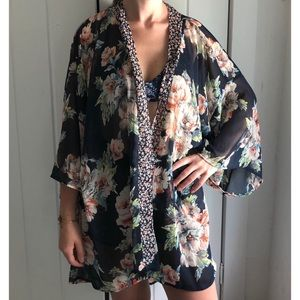 NWT Band of Gypsies | Floral Kimono Duster Sheer